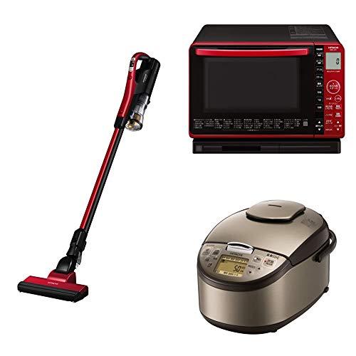 【新生活3点セット】(日立 サイクロン式スティッククリーナー充電式 PV-BL10G-R)+(ボイラー式過熱水蒸気 オーブンレンジ 22L MRO-S7X R)+(炊飯器 5.5合 圧力IH RZ-AG10M T)