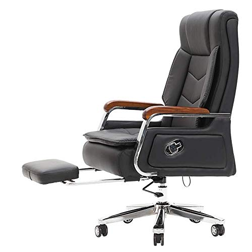 LYJ Silla de escritorio silla giratoria de oficina de ordenador for cuero de la oficina Sala de Formación Ejecutiva silla de oficina con la silla reclinable giratorio Reposapiés Diseño Administración