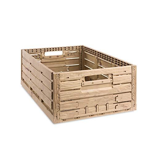 aidB Klappbox, 600x400x218 mm, robuste Transportkiste in edlem Holz-Design, stapelbare Faltkiste