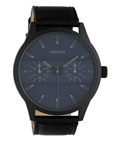 Oozoo herenhorloge chrono look met lederen band 48 MM zwart/donkerblauw C10539