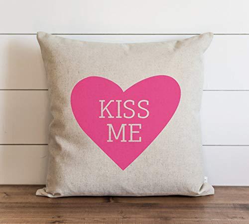 Kiss Me - Funda de almohada para el día de San Valentín con cierre de cremallera oculto, para sofá, banco, cama, decoración del hogar, 60 x 60 cm