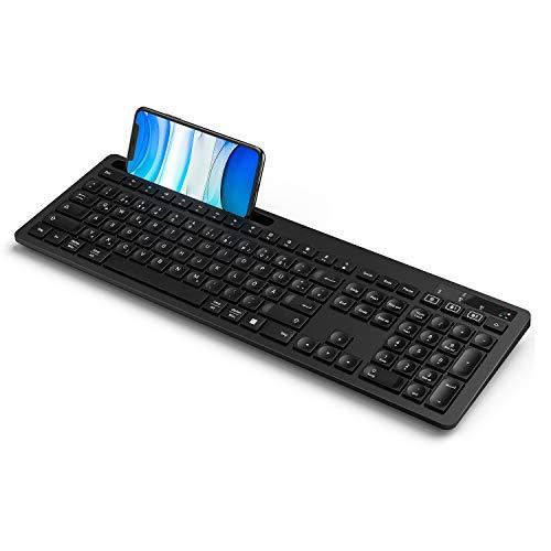 seenda Bluetooth Tastatur kabellos, Bluetooth 4.0 + 2,4 G Multi-Device Fullsize Funktastatur mit 3 Kanälen für iPad/iPhone/iMac/MacBook/Windows PC/Laptop/Tablet, Deutsches QWERTZ-Layout -Schwarz