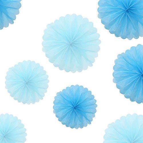 Beyond Dreams 10 Seidenpapier Pompons 4 x 35cm - 6 x 25cm - hell und dunkelblau - Dekoration für Drinnen und Draußen -Hängedekoration | Seidenpapierblumen