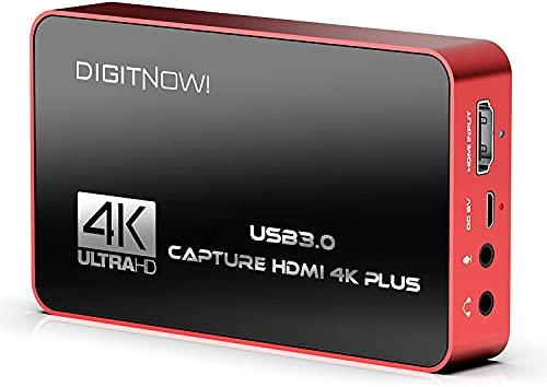 4K Plus Capturadora De Video HDMI con Loop out, HD 60S USB 3.0, Capture una resolución de hasta 4K en el Formato NV12, grabación a través de DSLR, videocámara o Action CAM