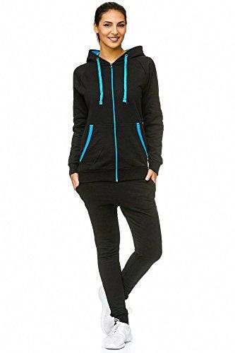 Violento Damen Jogging-Anzug | Uni 704 (L-fällt groß aus, Schwarz-Blau)