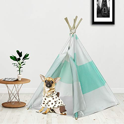 RSFZ Pet Teepee Tent for Dogs Teepee House Cotton Canvas Teepee Pet Tent Bed Indoor or Outdoor Cat Teepee Dog House for Pets Green Strip Pet Tipi House