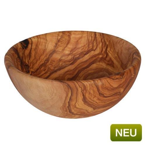 Schale sehr groß 25-26 cm Salat Schüssel mit schöner Maserung Unikate aus Oliven Holz
