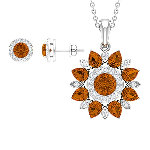 Rosec Jewels 18 quilates oro blanco redonda pera Orange Turmalina naranja creada en laboratorio Diamond