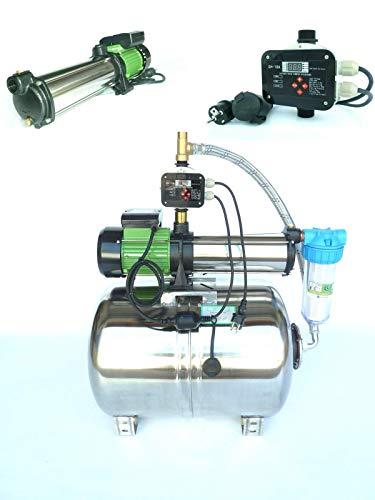 Hauswasserwerk Edelstahl/INOX 100 Liter + Vorfilter mit Kreiselpumpe HMC10S 2200 Watt INOX 5400l/h - 90l/h - Förderh.: 105m, Druck 10bar + digitale Pumpensteuerung CH20 Trockenlaufschutz.