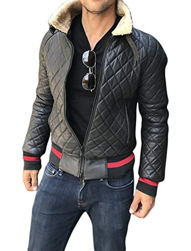 Echte Diamant-Stepp-Bomberjacke aus schwarzem Leder, schmale Passform, leicht, Lammfell-Lederjacken für Herren Gr. XXL, Gesteppte Jacke mit Rautenmuster