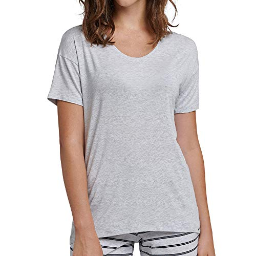 Schiesser Damen Mix & Relax Shirt 1/2 Arm Schlafanzugoberteil, Grau (Grau-Mel. 202), 36