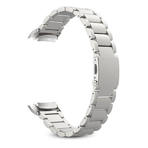 MoKo Samsung Gear Fit 2 y Fit 2 Pro Correa de Reloj, Pulsera Universal Acero Inoxidable Brazalete SmartWatch Banda + Conector para Samsung Gear Fit 2 SM-R360 y Fit 2 Pro Smartwatch, Plateado