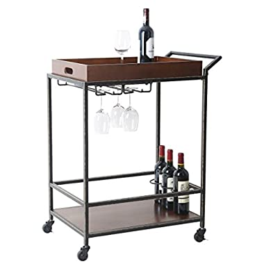 Tidy Living 2-Tier Antique Serving Wine Cart In Solid Wood With Removable Serving Tray