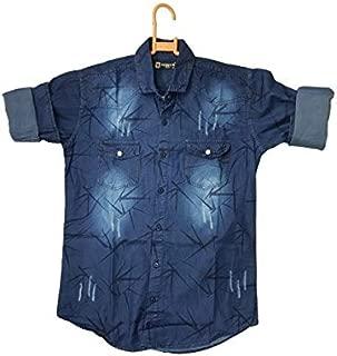 MIROCK Men Slim Fit Solid Denim Casual Shirt.