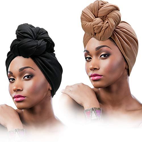 SATINIOR 2 Stücke Stretch Kopf Verpackung Schal Stretchy Turban Lange Haare Schal Wrap Einfarbig Weiche Kopfband Krawatte für Frauen (Schwarz, Weiß)