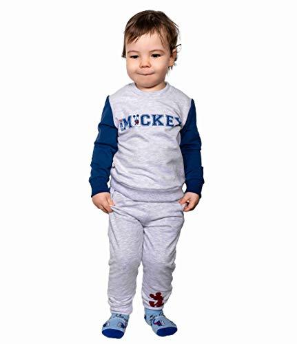 Baby Jungen Trainingsanzug | 100% Baumwolle | Disney Baby (Blau - Grau, 98)