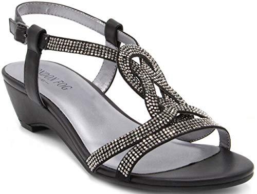 London Fog Womens Macey Demi-Wedge Dress Sandals Black 7.5 M US