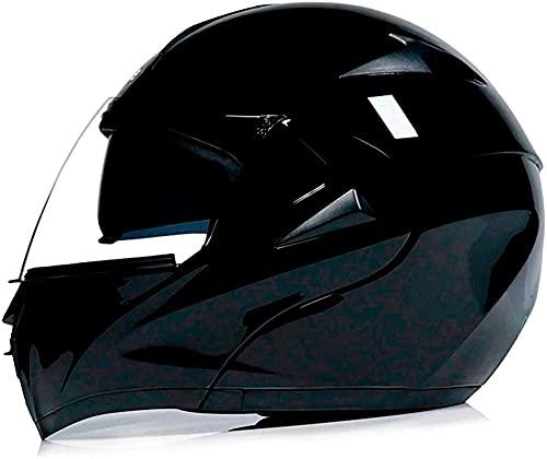 Casco de moto ligero con vuelco frontal, anticolisión, con Bluetooth, para moto, ligero, doble visera parasol antivaho DOT / ECE de carrera integral para hombre y (talla XL, color: E)