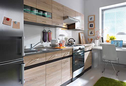 Küche 240cm in Eiche von FIWODO® - ERWEITERBAR - günstig + schnell - Einbauküche Junona Line Set 240