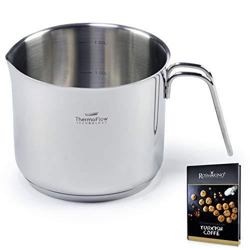 ROSMARINO Edelstahl-Induktions-Milchpfanne 1500 ml - Moderner Milchtopf mit 3-lagigem Stahlboden