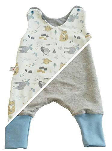 Atelier MiaMia - Mitwachs Wendestrampler Baby Kind von 50, 56, 62, 68, 74, 80, Designer Strampler Limitiert !!! Elch (80)