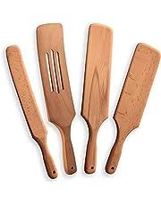 Juego de 4 utensilios de cocina de madera de haya, para servir y untar, cuchara de cocina, cuchara de madera no recubierta, utensilios de cocina ecológicos, mejor idea de regalo