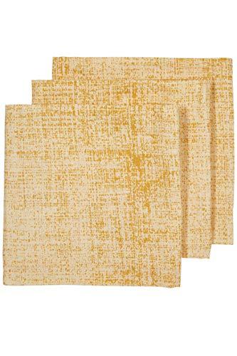 Meyco 452020 Fine Lines Lot de 3 couches en mousseline 100% coton Jaune océan 70 x 70 cm