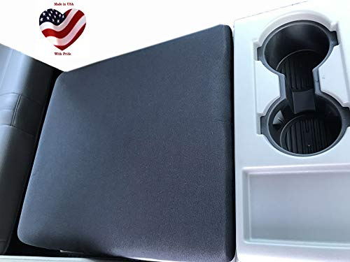 Car Console Covers Plus fits Ford F150 F250 F350 2014-2021 with Fold Down Seat Neoprene Center Armrest Console Cover Your Console Lid Must Open and Match Photo Shown Made in USA Black