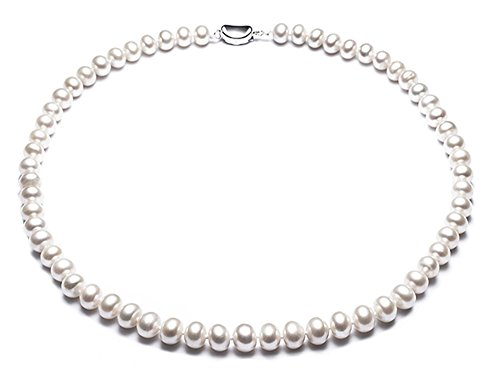 JYX - Gargantilla de perlas cultivadas en agua dulce (5 mm, 40,6 cm)