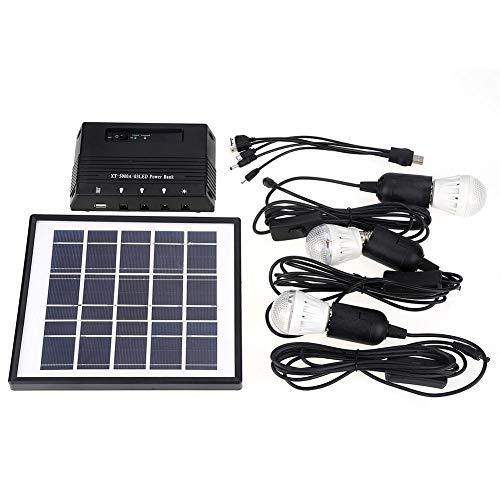 bombilla Solar panel Energía Portátil para exterior de 4W, 3cargador para bombillas LED Sistema iluminación Solar kit jardín Hogar