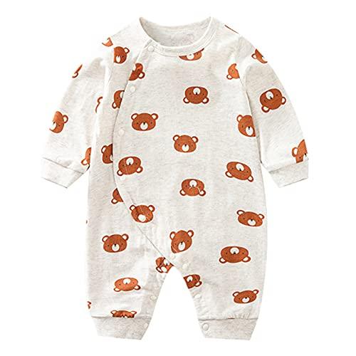 Bebé recién nacido niño niña mono bebé manga larga kimono mamelucos bebé lindo dibujos animados oso impresión Playsuits pijama, Blanco, 3-6 meses