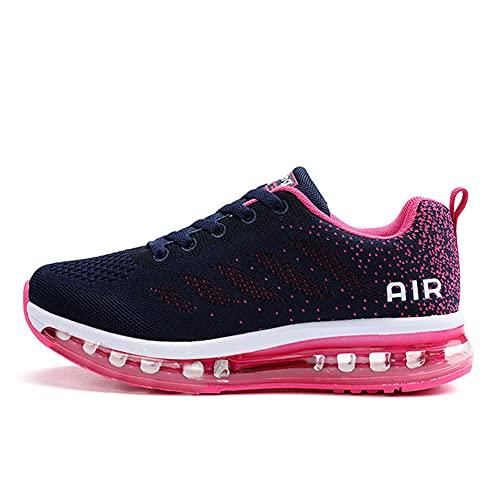 Zapatillas de Deportes Hombre Mujer Zapatos Deportivos Aire Libre para Correr Calzado Sneakers Gimnasio Casual(833-Rose42)