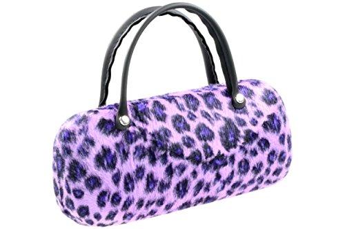 Brillenetui Damen wie kleine Handtasche samtige lila Oberfläche wie Fell - auch innen Gepard