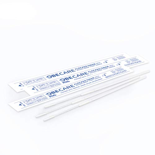 100 Stück Premium sterile Nasopharyngeal Tupfer NP Tupfer für Probenahme, Nylon-Beflockte Spitze mit Bruchstelle bei 81 mm. Obecare Comfort Design mit weicher Samt-Spitze