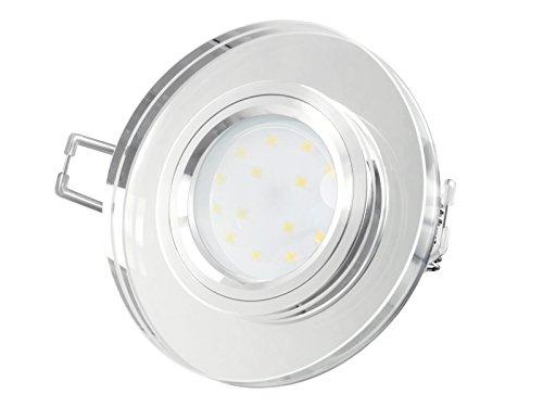 LED-Einbaustrahler extrem flach (15mm) aus klarem Echtglas rund mit 5W LED Modul warmweiß 2700K 230V ohne Trafo | Oberfläche Echtglas klar spiegelnd| glanzpolierter Innenring | Top Design