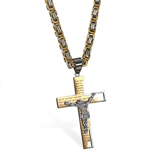 Cupimatch Herren Vintage Edelstahl Jesus Kreuz Anhänger Halskette mit Gravur Englische Bibel Gebet Gold Silber, Königskette 65cm