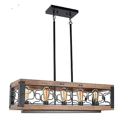 Beuhouz Wood Rustic Dining Room Light Fixture, Farmhouse Rectangle Kitchen Island Chandelier Lighting Industrial Black Metal Cage Billiard Pendant Light 5 Lights Edison E26 8043