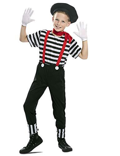 Generique - Pantomime-Kinderkostüm für Jungen Karnevals-Verkleidung schwarz-Weiss-rot - 122/134 (7-9 Jahre)