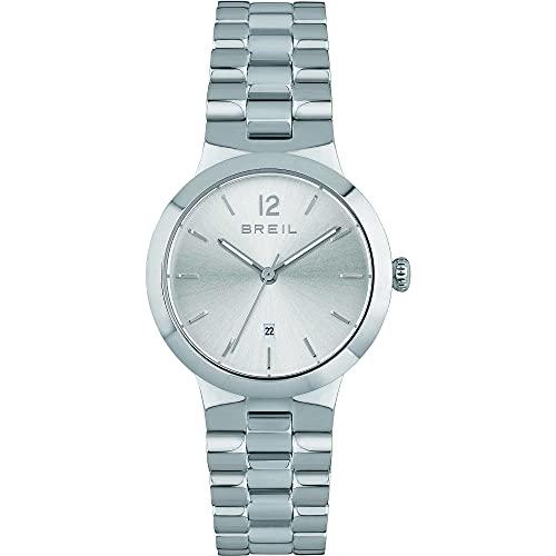 Breil - Reloj de mujer B Glare, esfera mono-color plateado, movimiento solo la hora, 3H, cuarzo y pulsera de acero TW1909