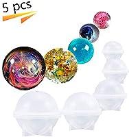 シリコンモールド レジン 球体 丸 ボール オルゴナイト 型 レジン抜き型 DIY 道具 アロマストーン対応 手作り ハンドメイド 5点セット (5pcs)