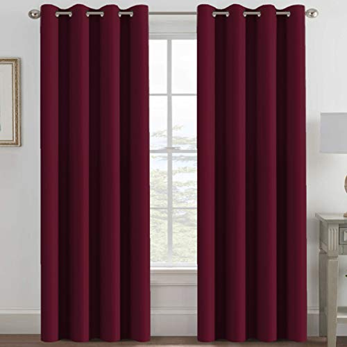 Blackout Curtains for Bedroom 84 Inches Length, Thermal Insulated Blackout Window Curtains for Living Room, Christmas Deals Curtain Panels, Antique Grommet - Burgundy Red, One Panel