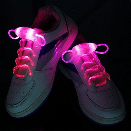 Cordones para zapatos con luces LED, con 3 modos, color rojo