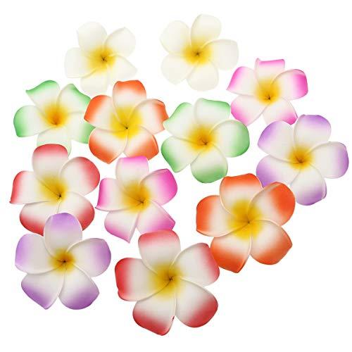 FRCOLOR 12 Piezas 9Cm Hawaiano Plumeria Flor Clip Hawaii Espuma Pelo Clips Plumeria Barrette Playa Fiesta Horquillas (Blanco Púrpura Verde Rosa Rojo Naranja)