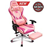 Muzii Pink Gaming Chair with Footrest, High-Back PU Leather Office Chair with Headrest and Adjustable Lumbar Support,Ergonomic Computer Swivel Chair for Teens and Adults(001)