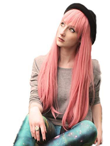Prettyland Perruque Longue 75cm Rose Lisse Frange Droite Manga Femme Travesti Vampire Sorciere Monstre C732