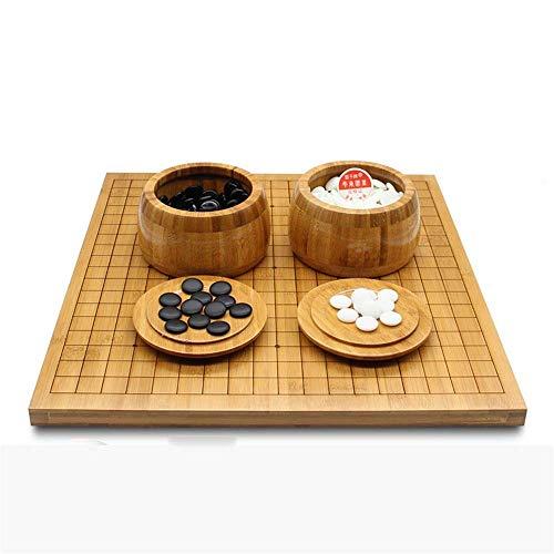 OKMIJN Go Schach Brettspiel Set Go Spiel Set Mit Reversiblem Bambus Go Board Und Enthält Schalen Und Steine 2 Spieler Klassisches Chinesisches Strategie Brettspiel (Puzzle Entertainment Party)