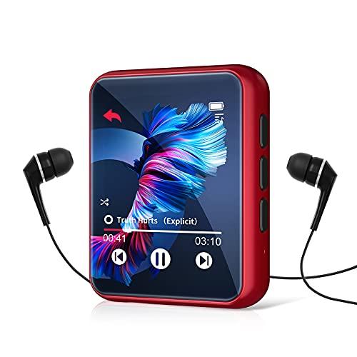 32GB MP3 Player Bluetooth 5.0 mit Voller Touchscreen, HiFi Verlustfreier Ton MP3 Musik Player mit Lautsprecher, Line-in Aufnahme, UKW-Radio, Unterstützung bis zu 128 GB (mit Kopfhörer, Schutzhülle)