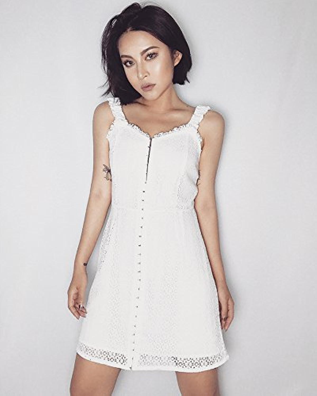 Kunzhang Dress Lace Openwork Buckle Strap Dress Skirt White, M