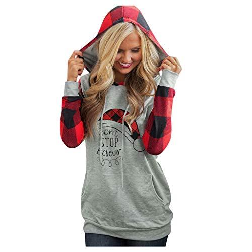 Topkeal - Sudadera de manga larga con capucha para mujer, diseño navideño Gris_c S