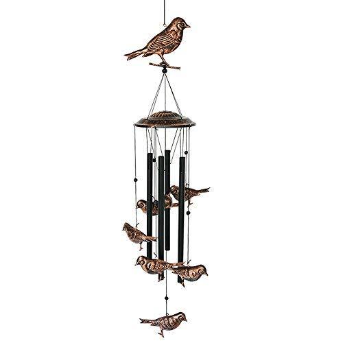 BLESSEDLAND Vogel Windspiele-4 Hohle metallrohre -Wind Wind-Glocken läuten und vögel mit s-Haken für innen und außen L 36x Dia.4.72 Zoll schwarz, Kupfer